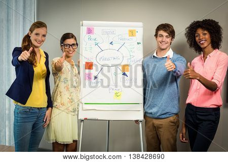 Business executives standing with flowchart on white board in office