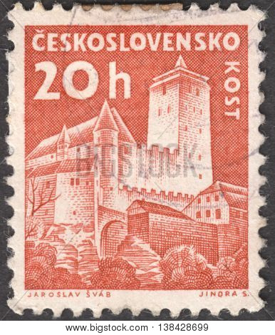 MOSCOW RUSSIA - JANUARY 2015: a post stamp printed in CZECHOSLOVAKIA shows a Kost castle the series