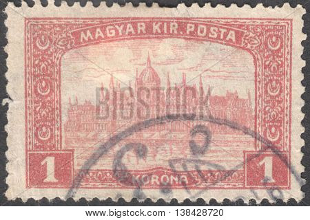 MOSCOW RUSSIA - JANUARY 2016: a post stamp printed in HUNGARY shows the Parliament Building in Budapest with the inscription