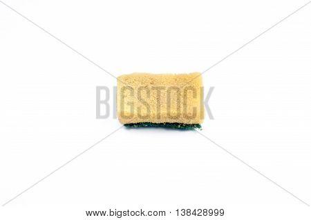 Sponge for washing dishes last use, on White background.