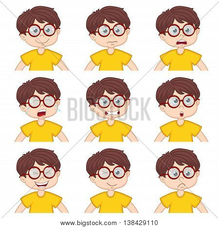 boy faces showing different emotions - vector illustration, eps