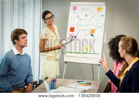 Woman discussing flowchart on white board with coworkers in the office