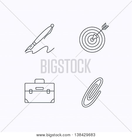 Briefcase, safety pin and target icons. Pen linear sign. Flat linear icons on white background. Vector