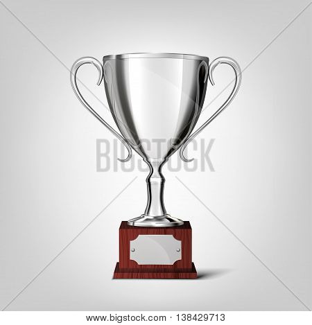silver cup isolated on a white background .  vector illustration