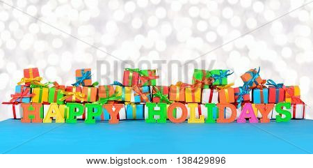 Happy Holidays Colorful Text On The Background Of Varicolored Gifts