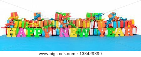 Happy New Year Colorful Text And Varicolored Gifts