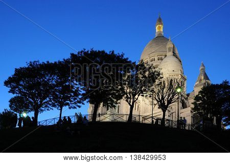 Paris, France - June 05, 2008: Night view of the Basilica of the Sacred Heart in Montmartre