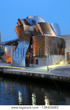 Bilbao, Spain - july 19, 2008: Night view of the Museum in Bilbao city