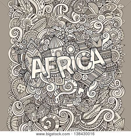 Cartoon cute doodles hand drawn african illustration. Sketchy picture with doodle inscription Africa