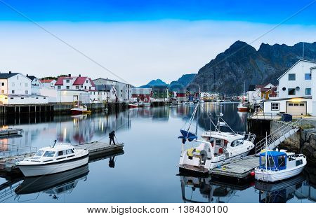 Horizontal Vivid Norway Town Mountain Quay Reflections Lights Ba
