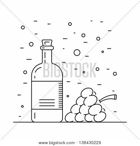 Wine vinegar in the bottle vector outline.