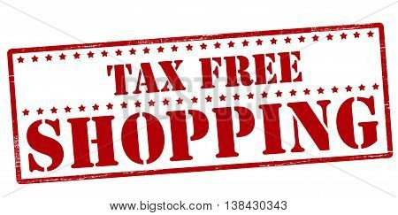 Rubber stamp with text tax free shopping inside vector illustration