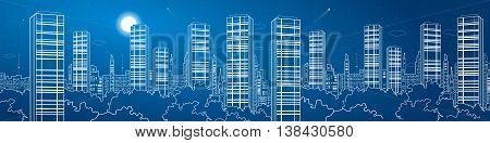 Night city mega panorama. Skyscrapers, white lines, urban skyline, neon town, business building, vector design art