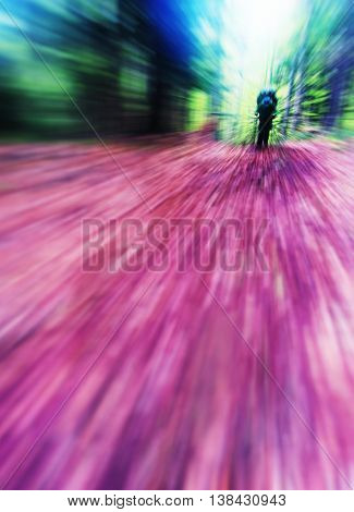 Vertical vivid autumn hike radial blur background backdrop abstraction