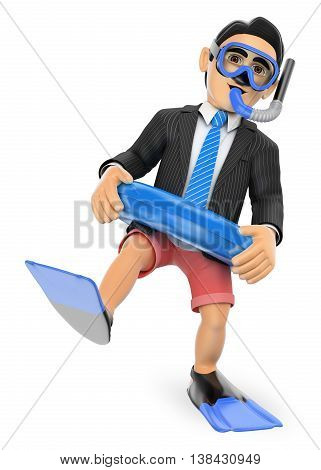 3d business people illustration. Businessman thinking in holidays with diving goggles fins and float. Isolated white background.