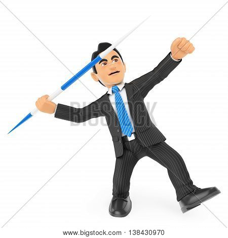 3d business people illustration. Businessman throwing a javelin. Isolated white background.