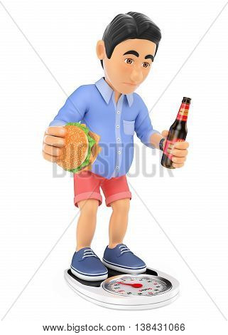 3d young people illustration. Man in shorts with overweight after the summer. Isolated white background.