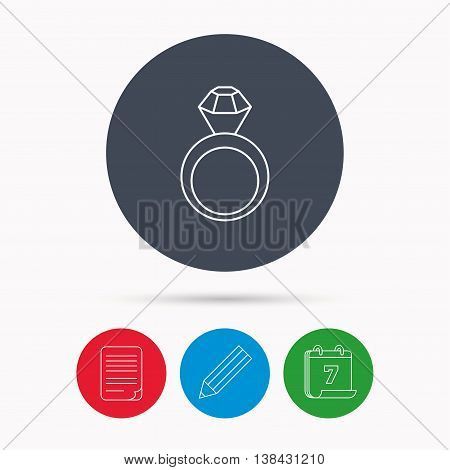 Engagement ring icon. Jewellery with diamond sign. Calendar, pencil or edit and document file signs. Vector