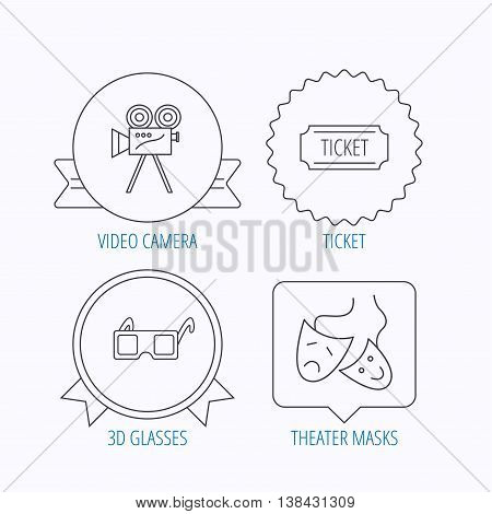 Ticket, video camera and theater masks icons. 3d glasses linear sign. Award medal, star label and speech bubble designs. Vector