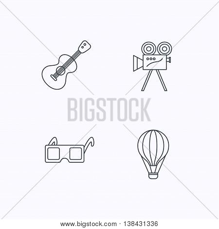 Guitar music, 3d glasses and air balloon icons. Video camera linear sign. Flat linear icons on white background. Vector