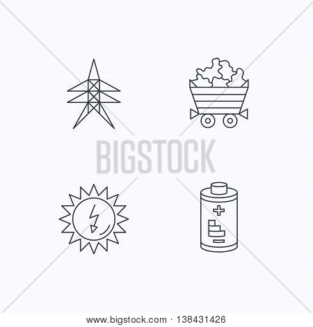 Solar energy, battery and minerals icons. Electricity station linear sign. Flat linear icons on white background. Vector