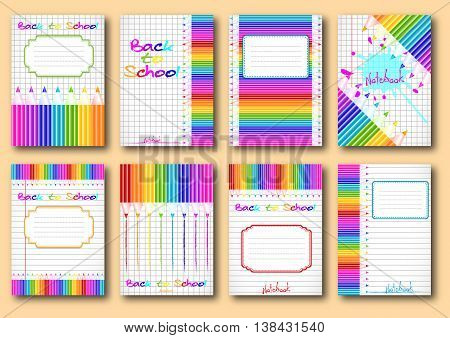 Set of school notebook covers with colorful pencils on page of copybook in cage and lines. Back to school. Vector illustration