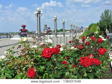 Anapa, Russia: Seafront promenade in resort town of Anapa before start of  holiday season