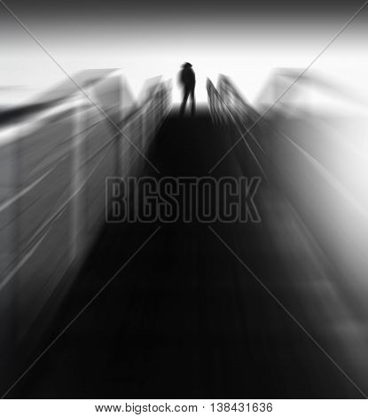 Vertical futuristic black and white vibrant man back motion running upstairs abstraction background backdrop