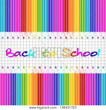 School background with colorful pencils on page of notebook in cage. Back to school. Vector illustration