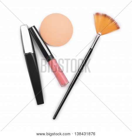 lipstick mascara blusher face isolated on white .