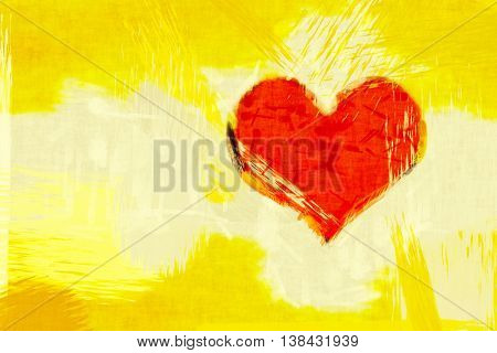 2D illustration of a yellow grunge background with a red heart