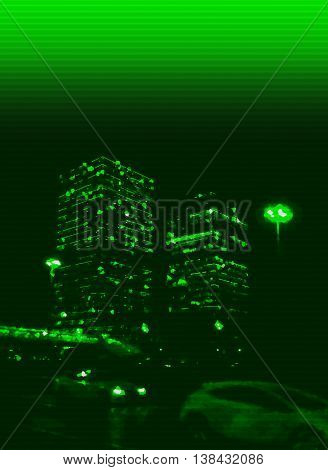 Vertical Greenish Interlaced Night Skyscraper Abstract Backdrop