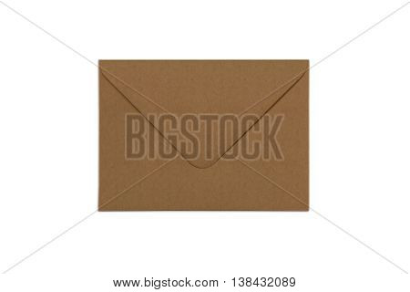 Blank craft paper envelope isolated on white background with shadows. Mockup of envelope.