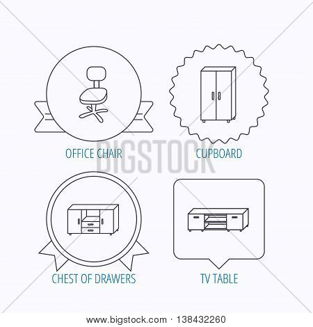 Cupboard, TV table and office chair icons. Chest of drawers linear sign. Award medal, star label and speech bubble designs. Vector