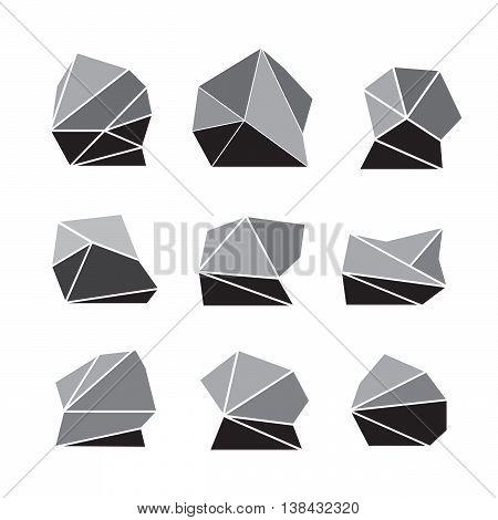 Rock stone cartoon in isometric 3d flat style eps10
