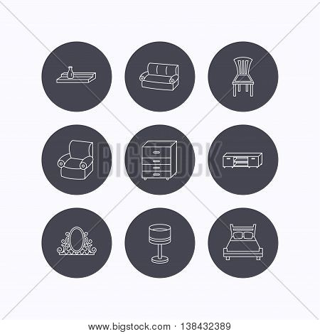 Double bed, table lamp and armchair icons. Chair, lamp and vintage mirror linear signs. Wall shelf, sofa and chest of drawers furniture icons. Flat icons in circle buttons on white background. Vector