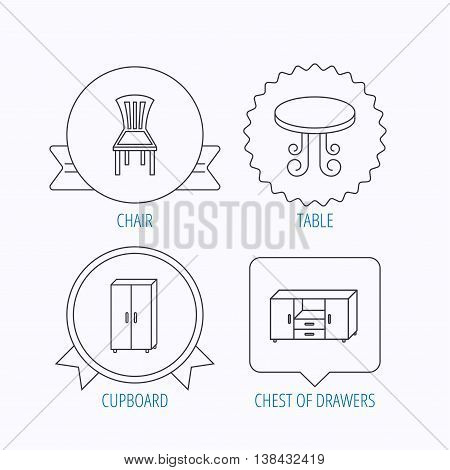 Chair, table and cupboard icons. Chest of drawers linear sign. Award medal, star label and speech bubble designs. Vector