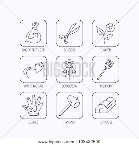 Hammer, hothouse and watering can icons. Bag of fertilizer, scissors and flower linear signs. Hammer, scarecrow and pitchfork flat line icons. Flat linear icons in squares on white background. Vector