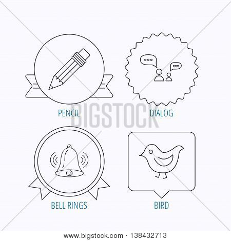 Dialogue, pencil and bird icons. Bell rings linear sign. Award medal, star label and speech bubble designs. Vector