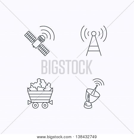 Telecommunication, minerals and antenna icons. GPS satellite linear sign. Flat linear icons on white background. Vector