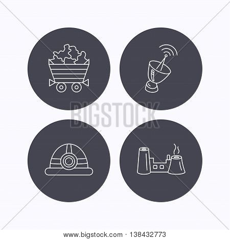 Antenna, minerals and engineering helm icons. Factory linear sign. Flat icons in circle buttons on white background. Vector