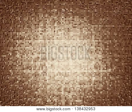 Horizontal brown 3d cube extruded blocks abstract background
