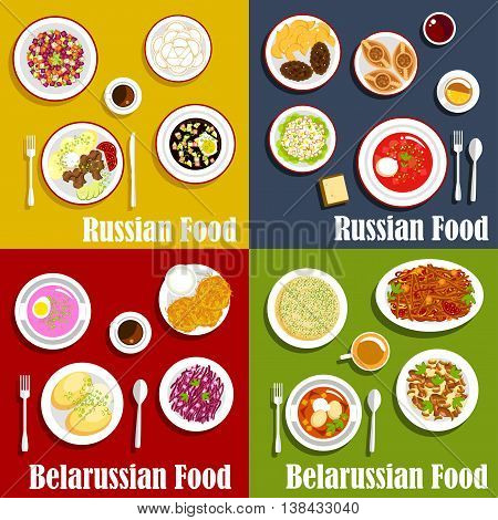 Russian and belarusian traditional national cuisine. Draniki and baked potato with onion, vereshchaka or machanka and kholodnik, okroshka and casserole, salad with red cabbage and babka, borscht and olivier, vinegret or vinaigrette dishes. Kvass