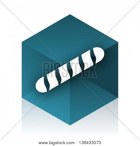 baguette blue cube icon, modern design web element