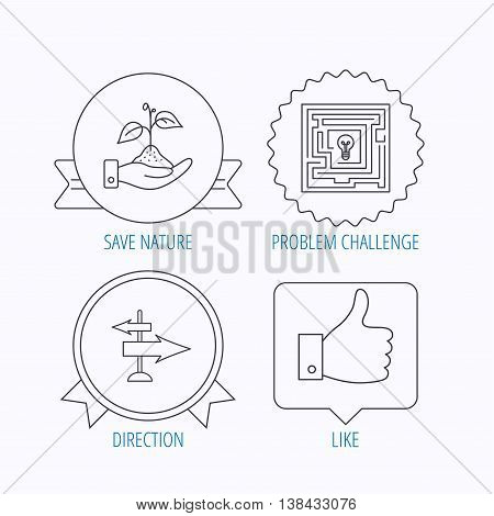 Save nature, thumb up and direction icons. Problem challenge, like linear signs. Award medal, star label and speech bubble designs. Vector