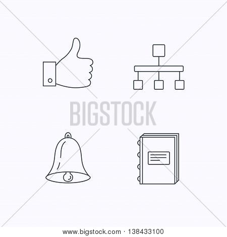 Hierarchy, like and bell icons. Book linear sign. Flat linear icons on white background. Vector