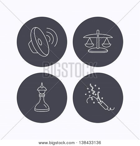 Scales of justice, sound and strategy icons. Slapstick linear sign. Flat icons in circle buttons on white background. Vector