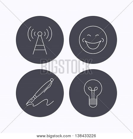 Pen, telecommunication and lightbulb icons. Smiling face linear sign. Flat icons in circle buttons on white background. Vector