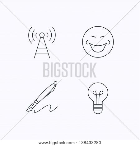 Pen, telecommunication and lightbulb icons. Smiling face linear sign. Flat linear icons on white background. Vector