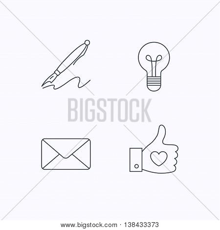 Mail, heart and lightbulb icons. Pen linear sign. Flat linear icons on white background. Vector